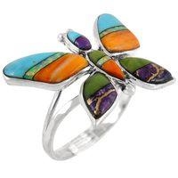 Sterling Silver Butterfly Ring Multi Gemstone R2287-C01