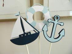 12 Light Blue Nautical Centerpiece Sticks, Nautical Table Decor, Sailboat…