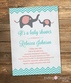 29 best joint baby shower invites images on pinterest joint baby elephant baby shower invitation girl vintage aqua coral salmon pink filmwisefo