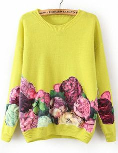 To find out about the Yellow Long Sleeve Floral Loose Sweater at SHEIN, part of our latest Sweaters ready to shop online today! Fall Fashion Outfits, Autumn Fashion, Diy Clothes, Clothes For Women, Yellow Sweater, Maroon Sweater, Loose Sweater, Refashion, Latest Fashion For Women