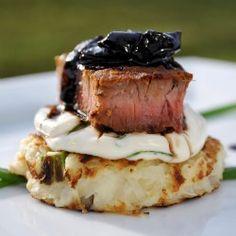 Steak and Potato Bite | Potato cake + Neufatel and Cream mixture (would substitute creme fraiche) + chives + Seared Beef + Balsalmic Vidalia Reduction.