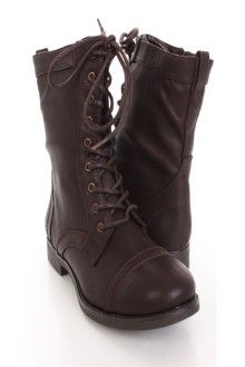 Brown Faux Leather Lace Up Stylish Combat Boots
