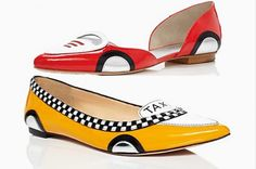 "Coco Chanel once said, ""A woman with good shoes is never ugly."" That's probably because when we have on a pair of shoes we love, we can't help but smile! These adorable car-inspired Kate Spade shoes will put a spring into any Vroomgirl's step."