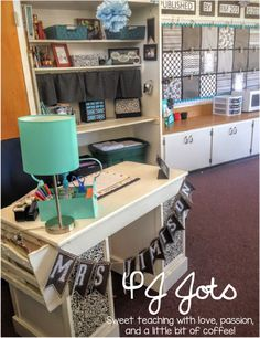 This teacher desk is too cute! P.J. Jots: Classroom Reveal! 2015