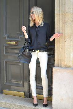 Simple - black shirt, white jeans, heels, celine and hermes.