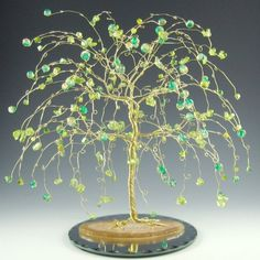 Wedding Cake Topper Willow Tree Sculpture Gold, Green and Yellow OOAK5