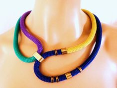 Multi color Rope Tribal Necklace, Statement Necklace, Gold Electric Blue Emerald and Purple Rope and Bronze Rings, Party Bling, Color Block