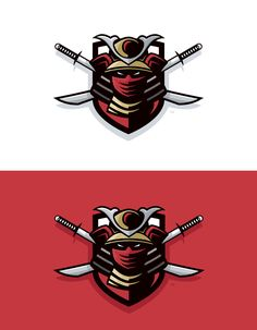"Mascot logo design for ""Player Armory"" featuring a samurai with crossed swords. Logo Branding, Branding Design, Sports Graphic Design, Sport Design, Sports Team Logos, Hockey Logos, Team Logo Design, Esports Logo, Bold Logo"