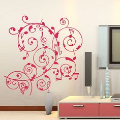 Red Music Notes Vine Flowers Vinyl Wall Decal Art Mural Sticker Mural Home Decor