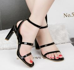 Open-toe Chunky High Heels Sandal_Sandal_WHOLESALE SHOES_Wholesale clothing, Wholesale Clothes Online From China