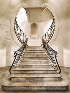 Some art nouveau. Great combination of outside the box staircase and art deco design Art Et Architecture, Beautiful Architecture, Architecture Details, Staircase Architecture, Classic Architecture, Escalier Art, Escalier Design, Art Nouveau, Grand Staircase