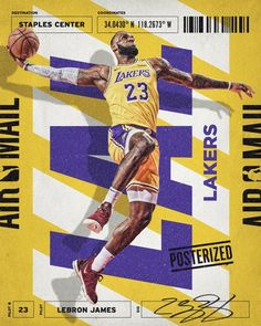 """""""I've been working on a new series, NBA Air Mail, that combines type and design elements from travel and mail-related tags, tickets and packaging to showcase stars who deliver dunks and daggers. Sport Basketball, Basketball Posters, Basketball Design, Twitter Design, Lebron James Wallpapers, Nba Wallpapers, Staples Center, Sport Inspiration, Graphic Design Inspiration"""
