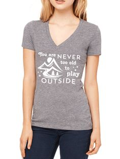 You Are Never Too Old To Play Outside V-Neck T-Shirt. Motivational Workout Quote. Triblend Tee.   #yogini #yogadaily #yogafit #yogisofinstagram #yogafam #yogainspiration #yogaeverydamnday #yoga365 #yogaeveryday #yogaaddict