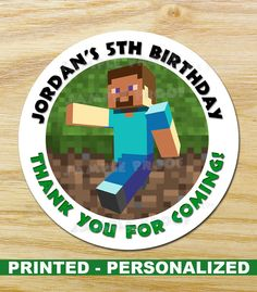 Personalized Printed Circle Round MINECRAFT by GraphicsByJoshua, $4.40