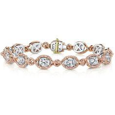 Women's Diamond Bracelet by Harry Kotlar Kotlar Cushion diamonds &... ($85,655) ❤ liked on Polyvore featuring jewelry, bracelets, pave diamond bangle, pink bangles, diamond bangles, pave diamond jewelry and pave jewelry