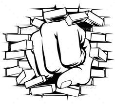 Buy Fist Punching Through Brick Wall by Krisdog on GraphicRiver. A pop art comic book cartoon fist punching a through a brick wall Graffiti Font, Graffiti Wall, Street Art Graffiti, 3d Pencil Drawings, Cartoon Drawings, Art Drawings, Cartoon Fist, Art Friend, Wall Drawing