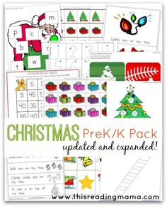 FREE Christmas Pre-K/K Pack {Updated and Expanded} ~ over 15 printable activities for early literacy and math skills! | This Reading Mama