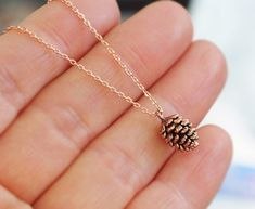 Rose Gold Pine Cone Necklace / Pink Gold Necklace by BLACKKOLLABO