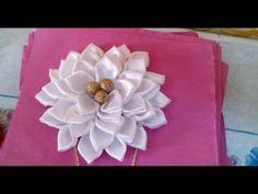 2 Girls small  2 inch Satin and mesh Flower ...Flower Hair Clip .White x 2