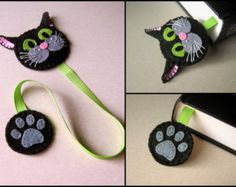 Felt cat bookmark gray cat bookmark white cat by DusiCrafts