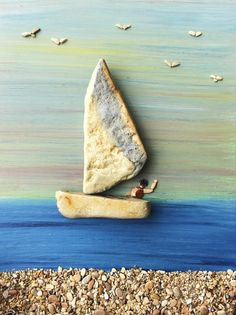 Moe's Home Collection Drift Wood Art on Marble Stand - Driftwood 4 Us Pebble Painting, Pebble Art, Stone Painting, 3d Painting, Pebble Pictures, Stone Pictures, Stone Crafts, Rock Crafts, Diy Crafts