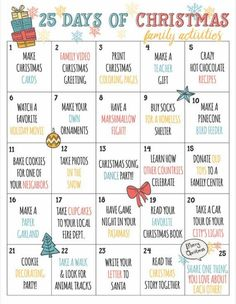 Christmas Countdown Calendar of Fun Family Activities- Printable