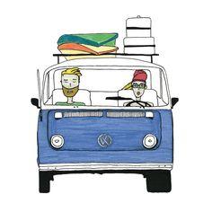 Illustration Print VW Bus Holidays Surfing Surf holidays Mr & Mrs Blue Van Volkswagen Art Print Decorative Art Beach Road Trip VW Bus Trip von paulinepolom auf Etsy