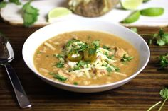 Easy and healthy white bean chili recipe with chicken that can be ready stove top or in your slow cooker while at work. #chili #slowcooker #weeknightdinnerwww.endurancezone.com