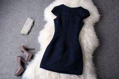 Luxury Designer Dark Blue Dress With Pearl Beaded Collar