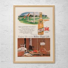 VINTAGE MILLER HIGH Life Ad - Retro Beer Ad - Bar Poster, Beer Poster, Barware Wall Art, Beer Lover Gift, Kitsch Ad, Retro Beer Poster
