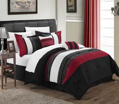 Carlton 10-piece Comforter Set King Size Black; Sheet Set, Bedskirt, Shams and Decorative Pillows Included. #LuxBed #Bed in a Bag #Chic Home