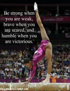 Gabby Douglas performs on the balance beam during the artistic women's individual all-around competition on August in the 2012 London Olympics. Cheer Quotes, Sport Quotes, Inspirational Gymnastics Quotes, Motivational, Gym Frases, Gymnastics Pictures, Gymnastics Stuff, Gymnastics Tricks, Artistic Gymnastics