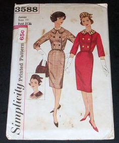 Vintage 1950s Simplicity 3588 Suit Slim Pleated Skirt Jacket Hat Uncut Sz Jr 11 #Simplicity3588