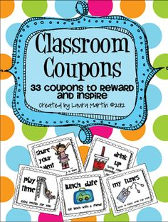 ~classroom rewards 32 Fun, Easy, and virtually Free (all but one) Classroom Coupons. Coupons are ready to print and cut. Print them in color or gray scale! Classroom Rewards, Classroom Behavior Management, Kindergarten Classroom, Future Classroom, School Classroom, School Fun, Classroom Ideas, School Ideas, School Stuff