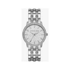 Michael Kors Michael Kors Nini Pave Silver-Tone Watch (13,565 INR) ❤ liked on Polyvore featuring jewelry, watches, silver, silvertone watches, pave jewelry, silver watches, michael kors watches and michael kors