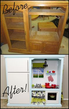 My darling play kitchen made from an old entertainment center!