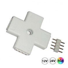 RGB ledstrip connector met 4 hoekenom de input te verdelen over 3 outputs  Let op dat er op de ledstrip wel een connector aanwezig moet zijn, die in de 4 hoek connector kan worden geschoven. De ledstrips van 5 meter die wij leveren hebben aan beide uiteinden een connector. Als u een andere a