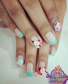 Cartoon Nail Designs, Animal Nail Designs, Unicorn Nails Designs, Nail Art Designs, Trendy Nail Art, Cute Nail Art, Ruby Nails, Kawaii Nails, Nails For Kids
