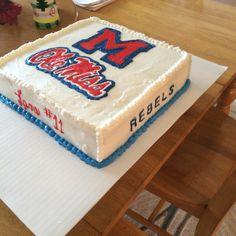 Ole Miss cake Ole Miss Football, Miss Cake, Ole Miss Rebels, Birthday Bash, Themed Cakes, Cake Designs, Wedding Cakes, Graduation, Birthdays