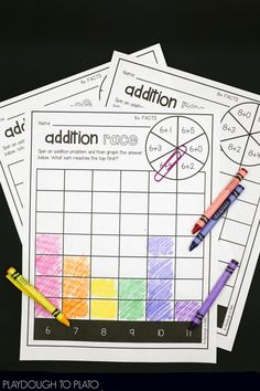 Fun addition fact fluency for kindergarten or first grade! Fun, no prep math centers and addition games.