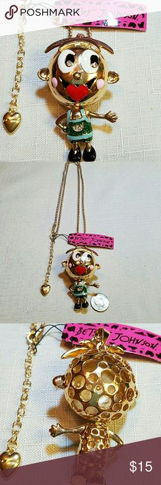 Absolutely adorable cartoon little boy necklace Absolutely adorable Betsey Johnson cartoon little boy necklace 28 inches long gold tone this little guy has a red heart for a mouth Pink Cheeks big white eyes green and blue email my outfit. He also has movable parts Betsey Johnson Jewelry Necklaces
