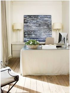 drop cloth desk, with glass top