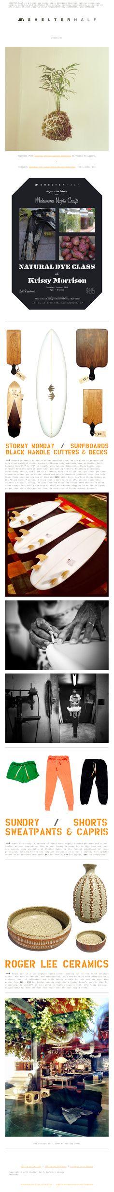 Shelter Half Exclusives: Stormy Monday Surfboards, Sundry's New Season, & Roger Lee Ceramics. Newsletter Ideas, Newsletter Design, Shelter, Shapes, Check, Email Newsletter Design