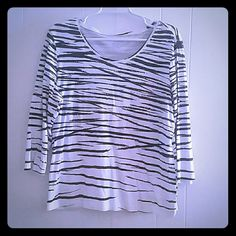 Top White and black print Zenergy Tops Blouses