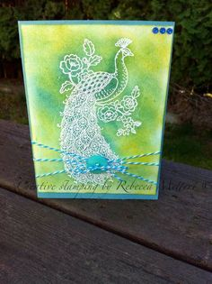"Creative Stamping By Rebecca Mettert: Emboss Resist card "" Perfect Peacock""Stampin up"