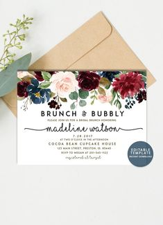 0b89cc5f9d73 Fall Floral Brunch and Bubbly Invitation