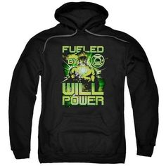 Green Lantern/Fueled Adult Pull-Over Hoodie in Black, Size: Large
