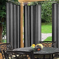 product image for Easy Glide Indoor/Outdoor Ring Top Window Curtain Panel in Grey Bamboo Curtains, Bamboo Panels, Outdoor Curtains, Window Curtains, Window Panels, Curtains Living, Outdoor Privacy, Indoor Outdoor, Outdoor Living