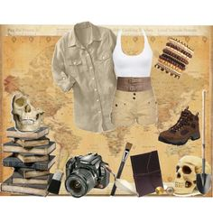 """Archaeologist"" by hannah-banana on Polyvore"