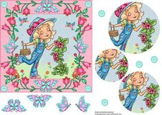 Smell the Flowers Girl on Craftsuprint designed by Barbara Alderson - pyramid topper on a card front woth butterflies and buttons - Now available for download!